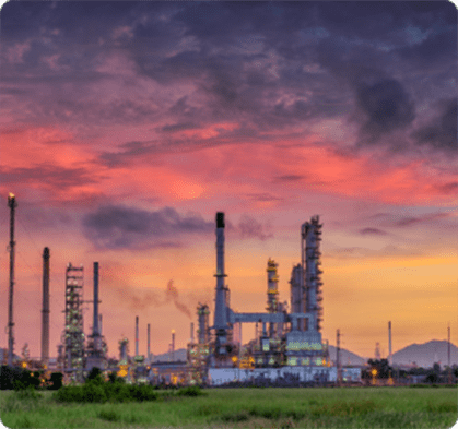 Image with oil refinery and machines