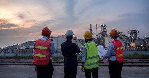 Engineers taking survey of site